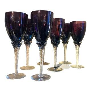 Vintage Amethyst Art Glass Stemware - Set of 7 For Sale