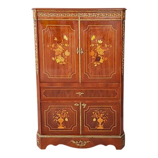 Heritage Contemporary Brass Inlaid Media Cabinet For Sale