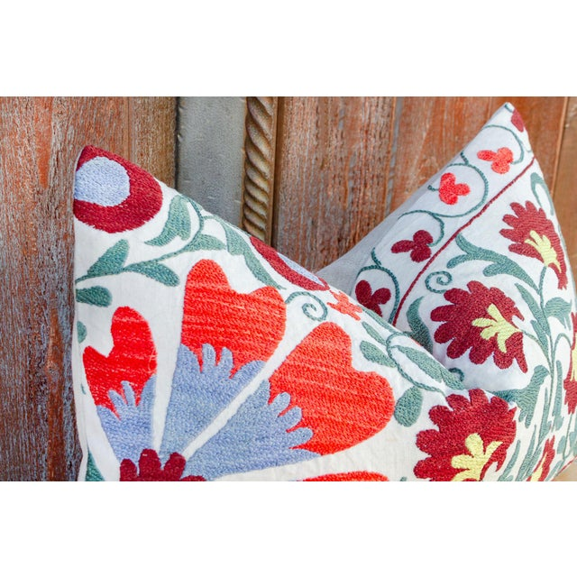 Paoli Coral Floral Suzani Pillow For Sale In Los Angeles - Image 6 of 10