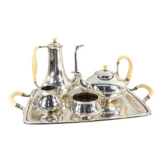 Mid Century Modern Danish Sterling Silver Tea and Coffee Set - 5 Piece Set For Sale