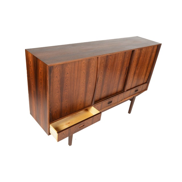 Tall Danish Modern Rosewood Credenza - Image 8 of 10