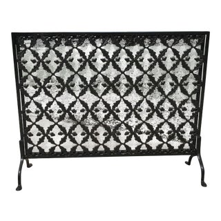 Decorative Wrought Iron Fireplace Screen For Sale