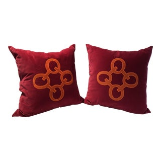 Designer Fuschia Cotton Velvet Pillows - A Pair