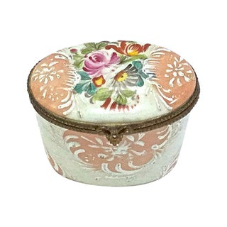 Antique Oval Limoges Porcelain Floral Box For Sale