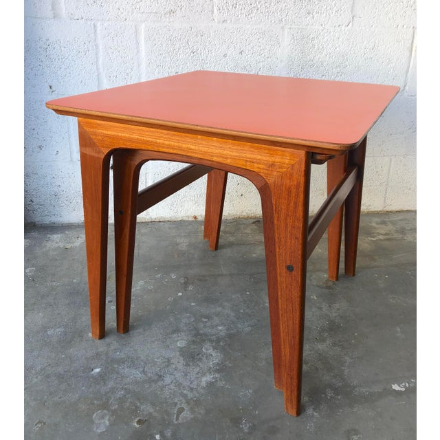 Wood Vintage Mid-Century Danish Modern Nesting Tables (Set of Two) For Sale - Image 7 of 13