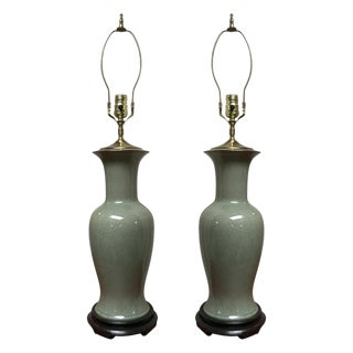 Early 20th Century Antique Chinese Celadon Vases - A Pair For Sale