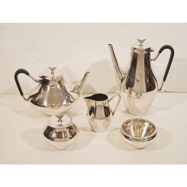 Mid 20th Century Denmark Complete Tea and Coffee Service by John Prip for Reed & Barton - 5 Pc. Set For Sale - Image 5 of 8