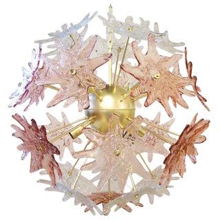 Murano Pink & Clear Stars Sputnik Chandelier by Mazzega