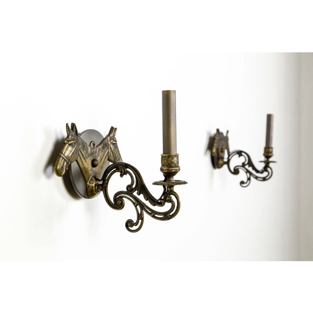 Contemporary Brass Horse Candelabra Sconces in Oil Rubbed Bronze, Pair For Sale - Image 3 of 11