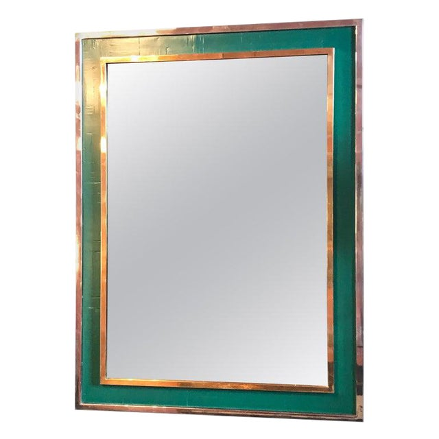 Mid-Century Tommaso Barbi Green Mirror in Chrome and Brass, Italy, 1970s For Sale