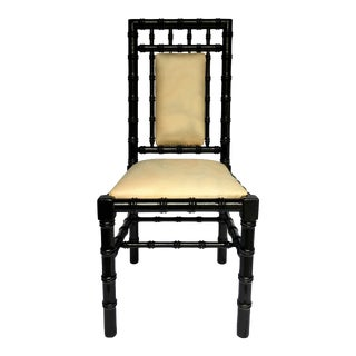 Chinoiserie Style Faux Bamboo Black Lacquer Side Desk Chair For Sale