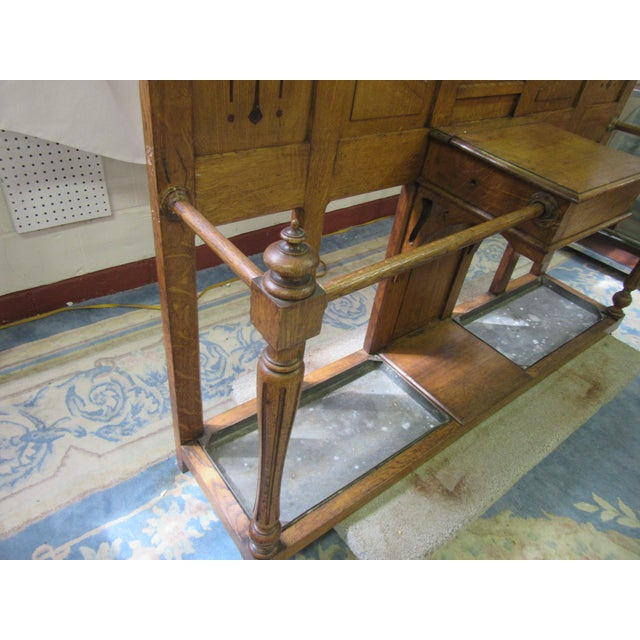 Chestnut Antique English Arts and Crafts Oak Coat Rack, Hat Rack and Umbrella Stand For Sale - Image 8 of 11