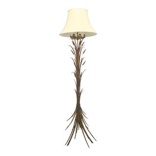 French Gilt Wheat Sheaf Floor Lamp with Shade For Sale