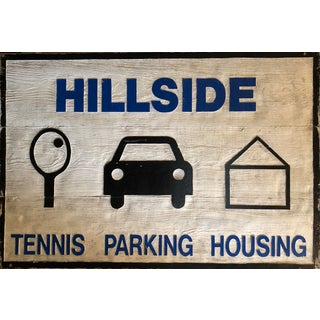Vintage Hillside Tennis Club Parking Housing Two-Sided Carved Wood Sign For Sale