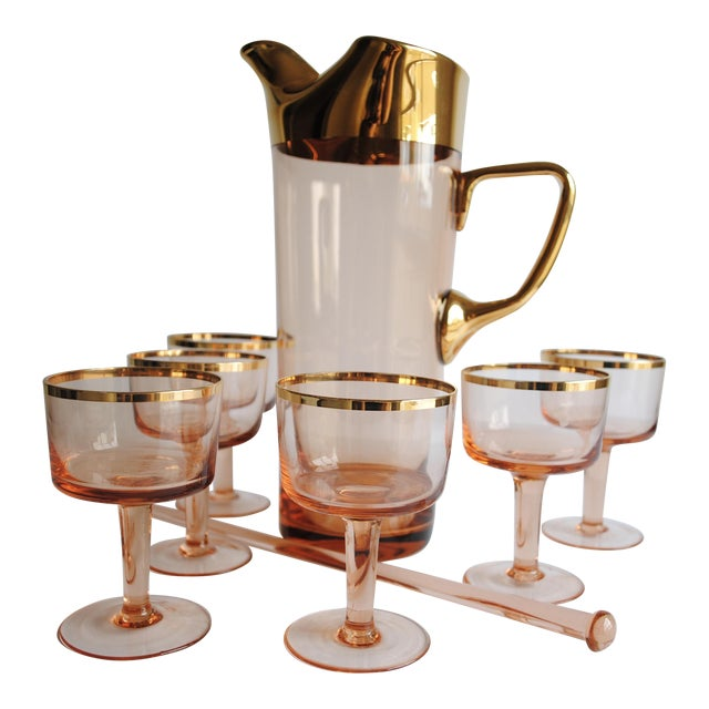 Mid-Century Pink & Gold Cocktail Glasses - Set of 8 - Image 1 of 7