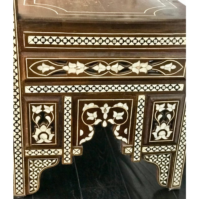 Antique Moroccan Bench With Inlaid Mother of Pearl and Abalone For Sale - Image 4 of 13