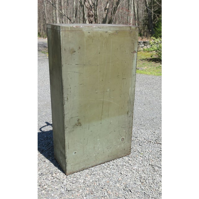 Gray Vintage Industrial Metal File Cabinet For Sale - Image 8 of 11