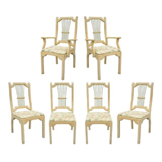 Set 6 Rustic Primitive French Country Wood Spindle Dining Room Chairs Cabin Vintage For Sale