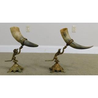 Antique Bronze Dragon Sculpture With Horn Vases Preview