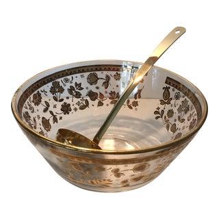 Vintage Culver Gold Patterned Punch Bowl & Ladle For Sale