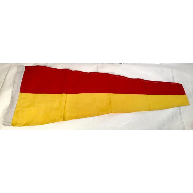 Vintage Nautical Yellow & Red Ship Flag For Sale - Image 4 of 4