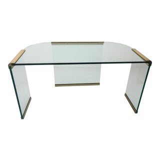 20th Century Leon Rosen for Pace Brass and Glass Desk For Sale