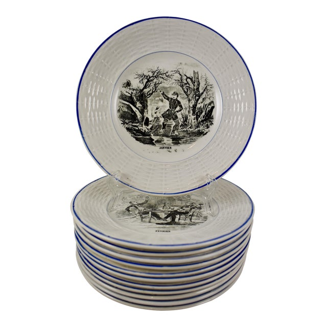 Digoin Sarreguemines French Transferware 'Mois De L'année' Plates, S/12 For Sale