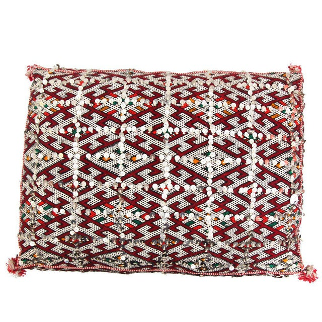 Moroccan Handmade Handira Red Cushion with Sequins - Image 2 of 2