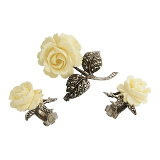German Sterling Silver & Ivory Carved Rose Flower Set Brooch & Earrings For Sale