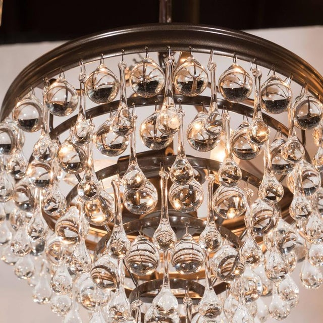 Early 20th Century Hollywood Regency Crystal Teardrop and Ball Chandelier with Bronze Fittings For Sale - Image 5 of 10