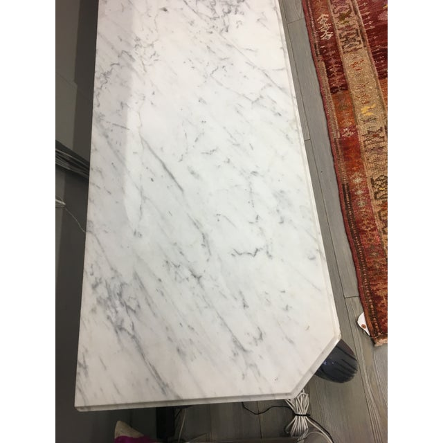 Vintage Grey Lacquered & Marble Top Console For Sale - Image 4 of 11