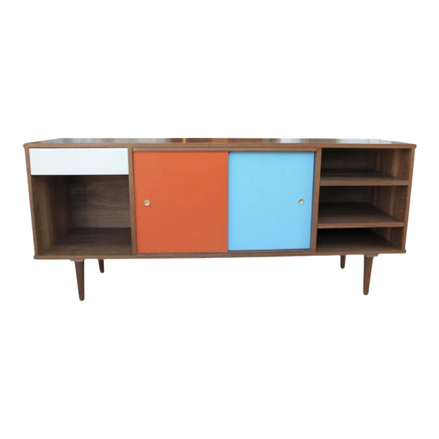 Mid-Century Modern Walnut Credenza with Blue and Orange Accents For Sale