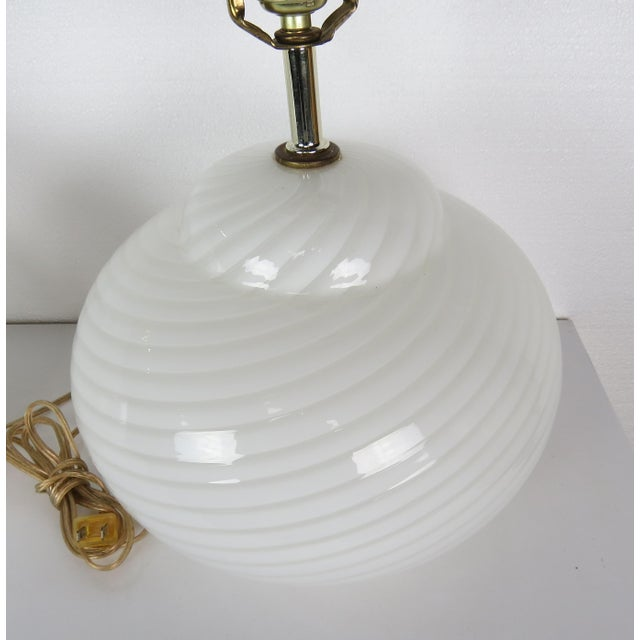 Mid-Century Modern Mid-Century Modern Murano Glass Swirl Lamps - a Pair For Sale - Image 3 of 13