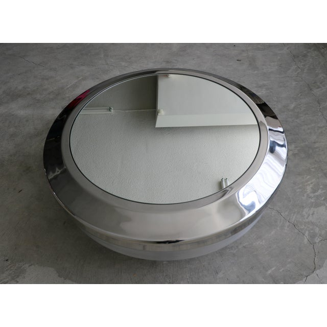1970s Round Aluminum Chrome and Mirror Drum Canister Coffee Table by Gj Neville For Sale - Image 5 of 10