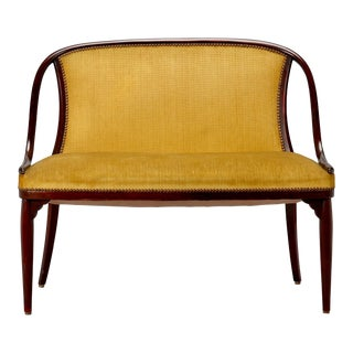 Vintage Bentwood Thonet Settee Loveseat With Mustard Color Fabric For Sale