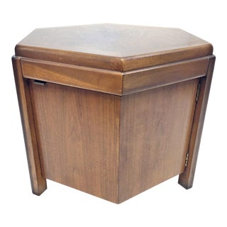 Mid Century Modern Hexagon Storage Cabinet Table by Lane For Sale