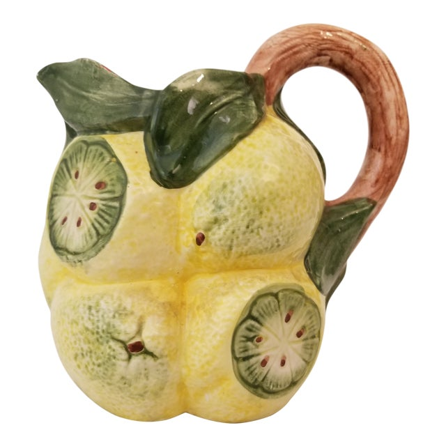 Vintage Italian Handpainted Lemon Pitcher For Sale