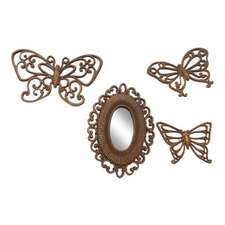Homco Mid-Century Modern Butterflies and Oval Mirror Set - 4 Pieces For Sale