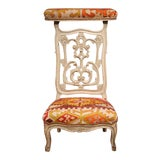 Image of 19th Century French Carved and Painted Antique Kilim Prie-Dieu Prayer Chair For Sale