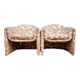 Vintage Vladimir Kagan Reupholstered Print Chairs in Dedar Fabric - a Pair For Sale