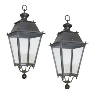 Pair of Iron and Copper Lanterns