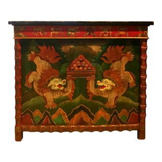 Large Painted Foo Dogs Tibetan Altar Chest