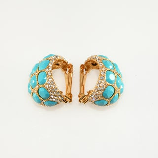 Kenneth Jay Lane Earrings Turquoise Blue & Clear Rhinestones on Card Preview