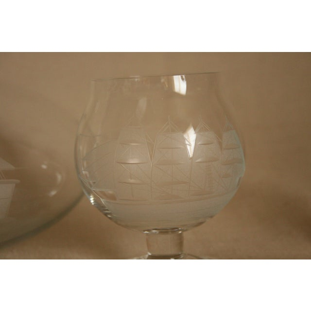 Vintage Etched Toscany Crystal Clipper Ship Decanter & Snifters For Sale In San Diego - Image 6 of 10