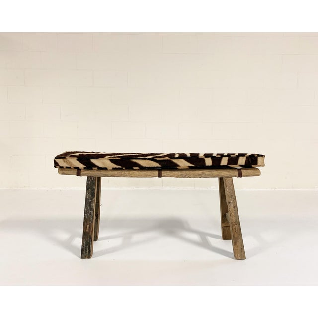 Early 19th Century Chinese Elmwood Bench With Zebra Cushion For Sale - Image 5 of 6