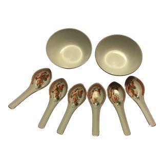 19th Century Chinese Porcelain Rice/Soup Bowls and Spoons Set - 8 Pieces For Sale