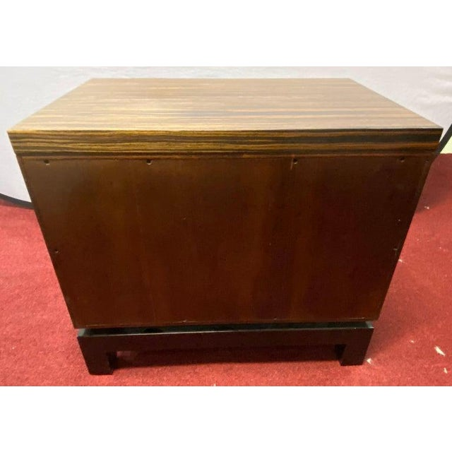 Hollywood Regency style zebra wood end tables / night stands or chests. A pair of finely constructed bedside stands, end...