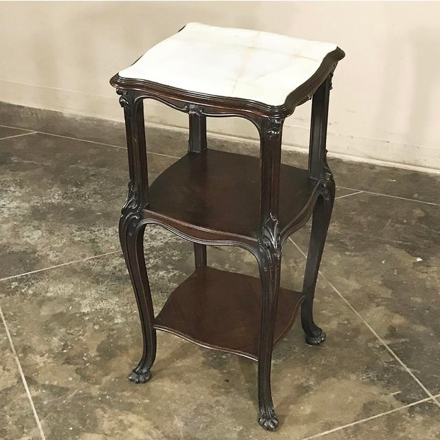 Late 19th Century 19th Century French Solid Rosewood Nightstand - Etagere Lamp Table For Sale - Image 5 of 12