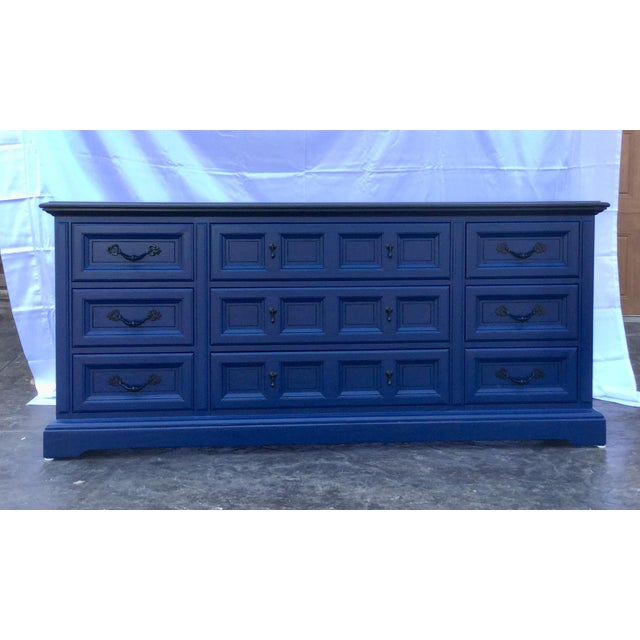 Dixie 1970s Vintage Dixie Lacquered Blue and Black Dresser For Sale - Image 4 of 11