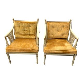 1970s Vintage Hollywood Regency Gold Upholstered Caned Chairs- A Pair For Sale